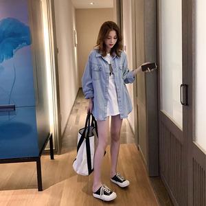 2021春款女装上衣韩版宽松牛仔衬衫女设计感小众复古港味打底衫女
