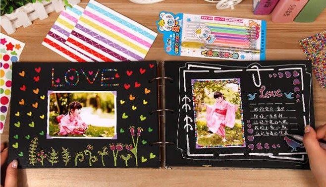 纪念照片爱情DIY相册粘贴式绘画手册男女生同学录礼物旅行记录