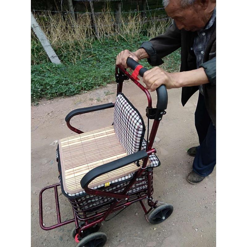 实用老年人小推车手推休闲代步购物可推可坐车残疾人座椅轻便买菜,可领取10元天猫优惠券