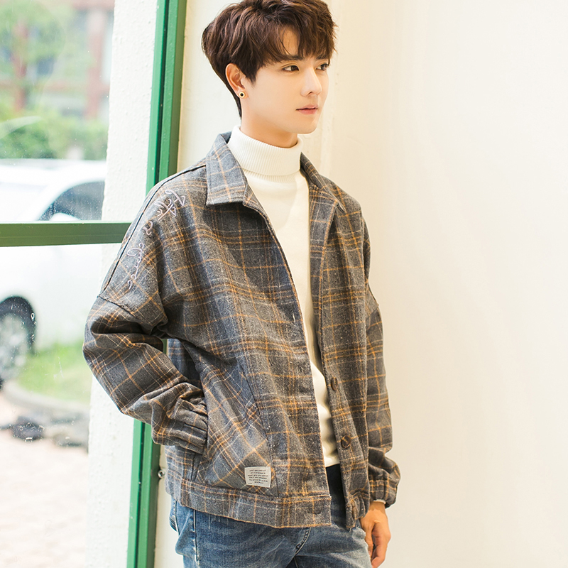 New spring and autumn Korean woolen plaid coat popular mens casual wear jacket Hong Kong trend