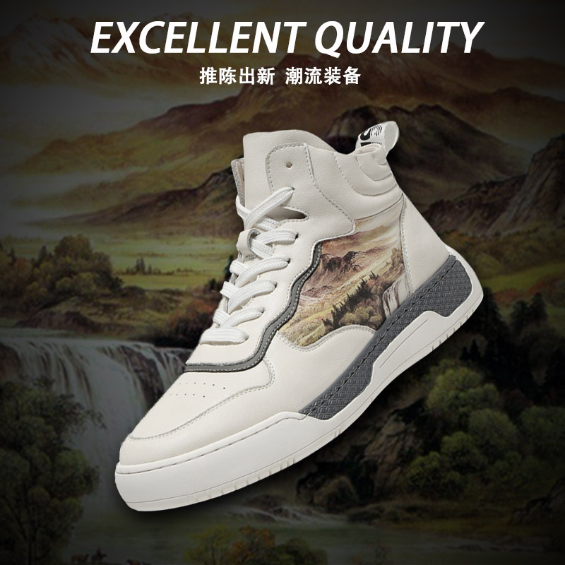 2020 new spring trend versatile high top shoes mens white printed mens shoes fashion fashion fashion mens high top board shoes