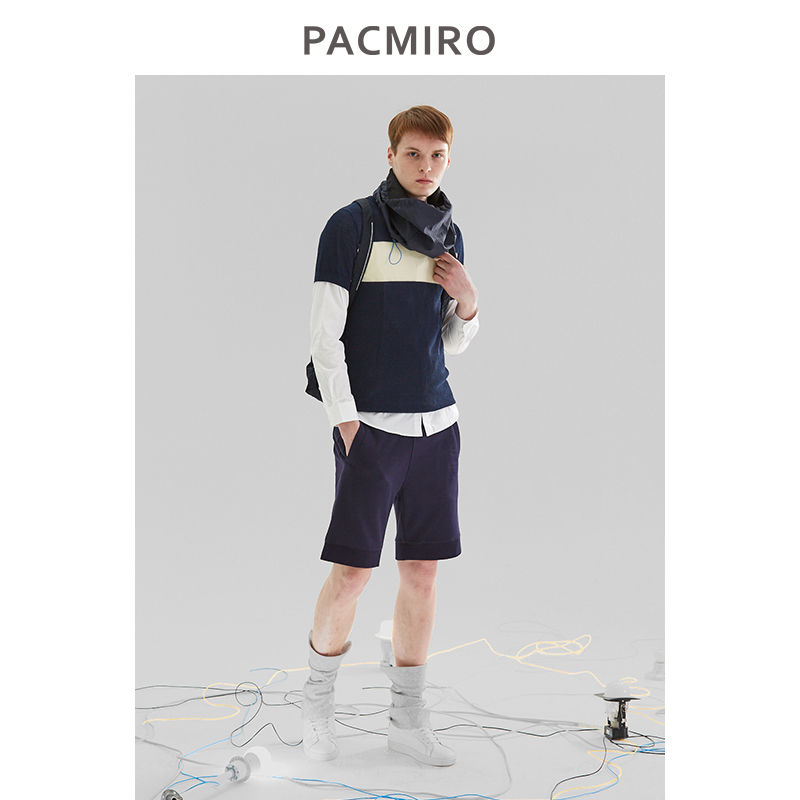 Pacmiro mens autumn new style overlapped round neck contrast bottoming shirt Navy Blue versatile stripe cotton sweater