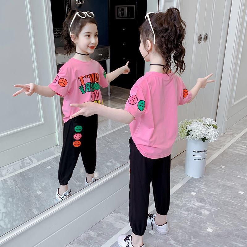 女童短袖套装2021夏季新款中大童裤套装洋气女童衣服潮