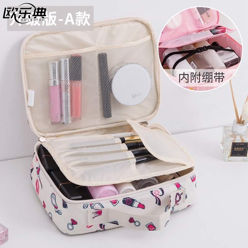 1 girls personal appliances toothbrush sundry bag heart makeup bag large capacity square skin care layered rectangle