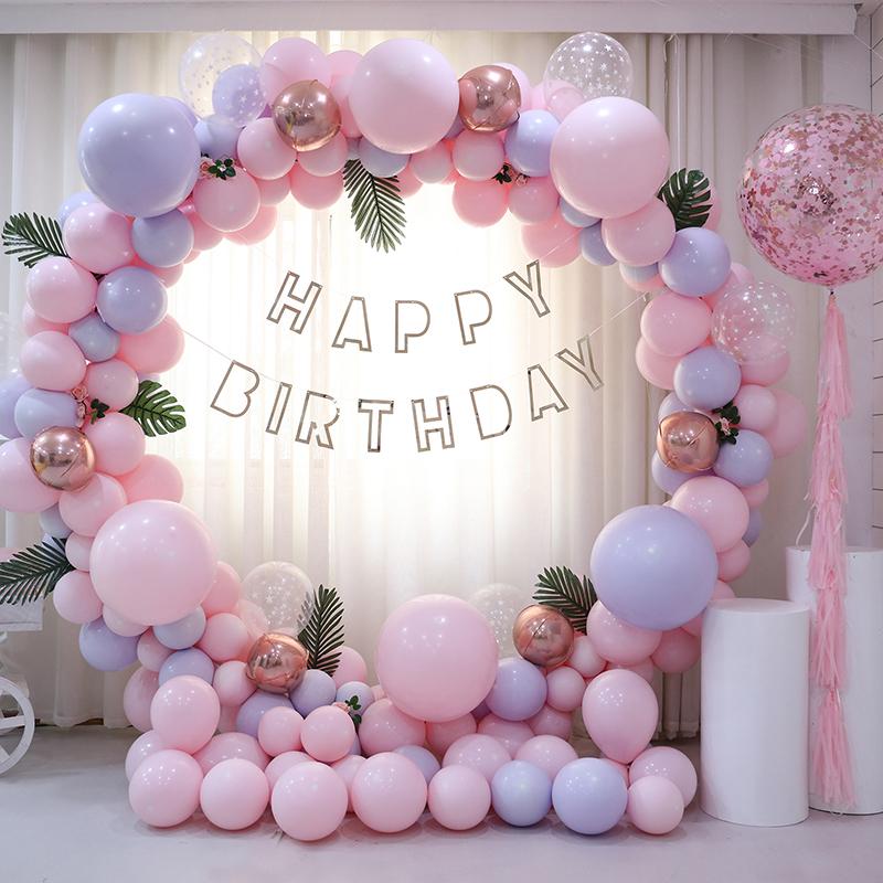 ins马卡龙气球圆环拱门网红周岁生日布置派对场景装饰结婚礼婚房