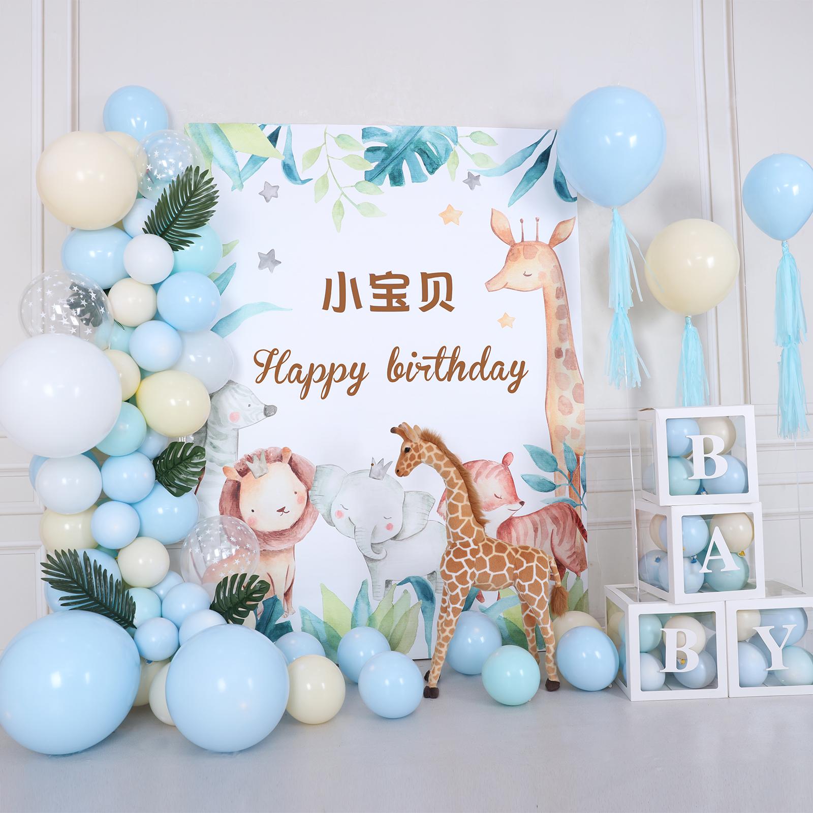 淡彩动物主题甜品台宝宝百天周岁生日布置背景布儿童派对场景装饰