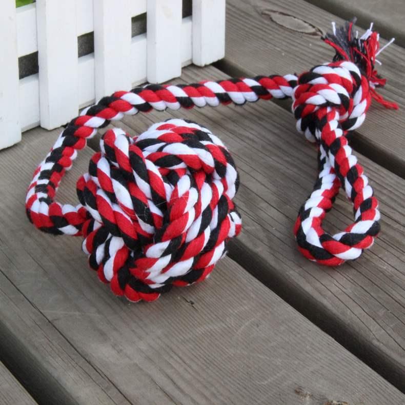 洁齿猫狗狗狗宠物棉绳玩具手拉式棉绳吊球玩具咬绳磨牙绳结球