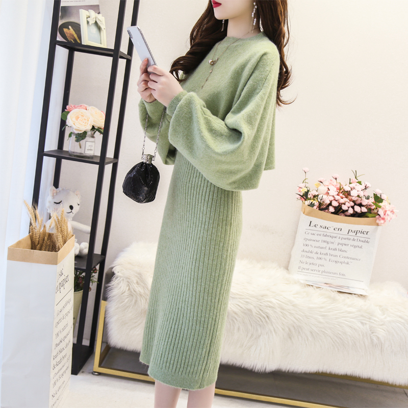 Autumn fashion knitted suit womens 2019 net Red Fairy foreign style loose sweater vest suspender skirt two piece set