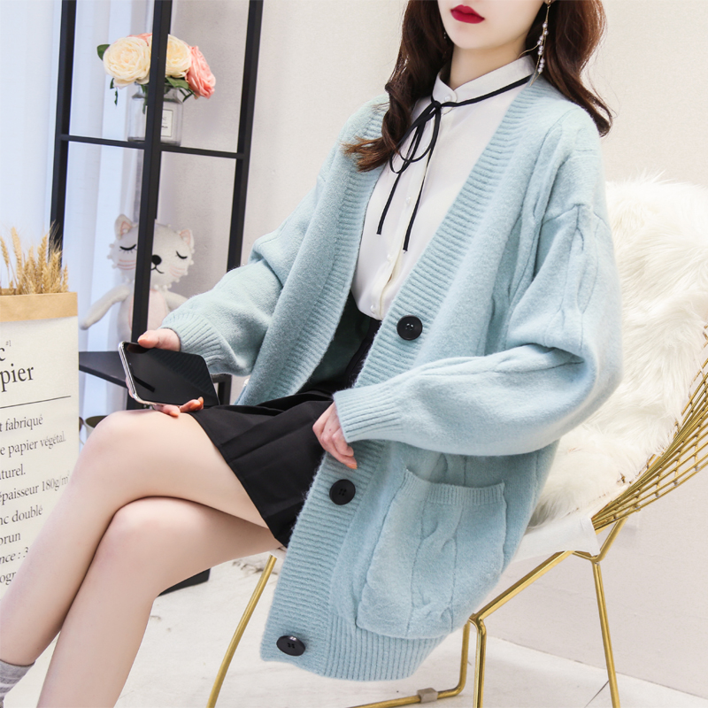 Soft milk blue sweater loose net red lazy wind knitted coat womens middle and long 2019 new Korean thick cardigan