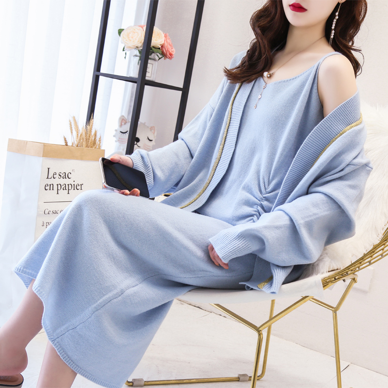 Two piece suit of foreign style net red fashion loose sweater cardigan jacket knitted suspender long skirt suit skirt