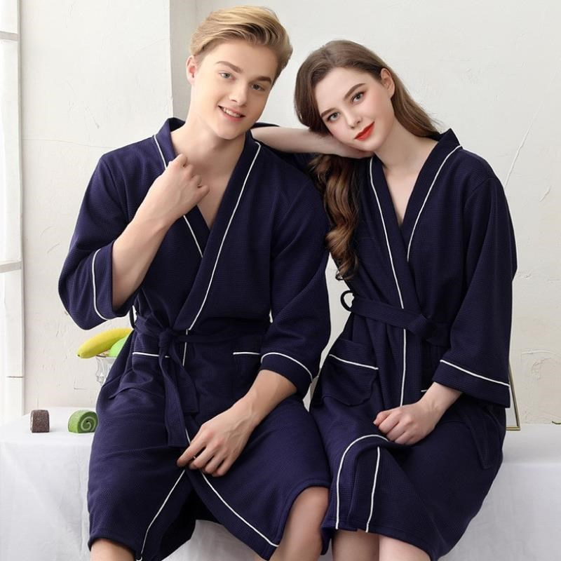 Four commuter robe female big yards waffle couples bathrobe