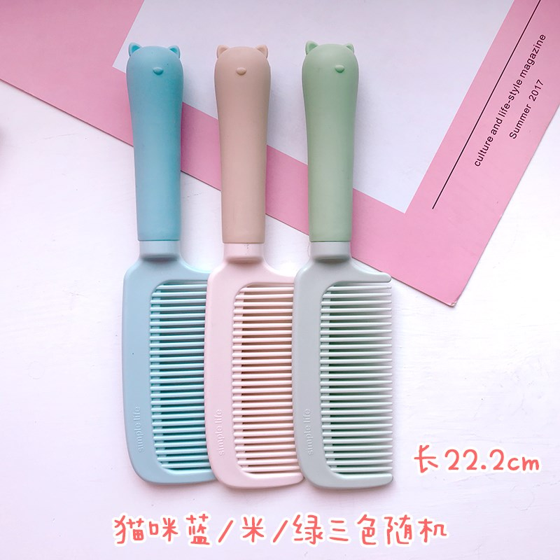 Childrens comb girl Princess plastic stylist wig gift small head household net red round rolling wooden comb haircut