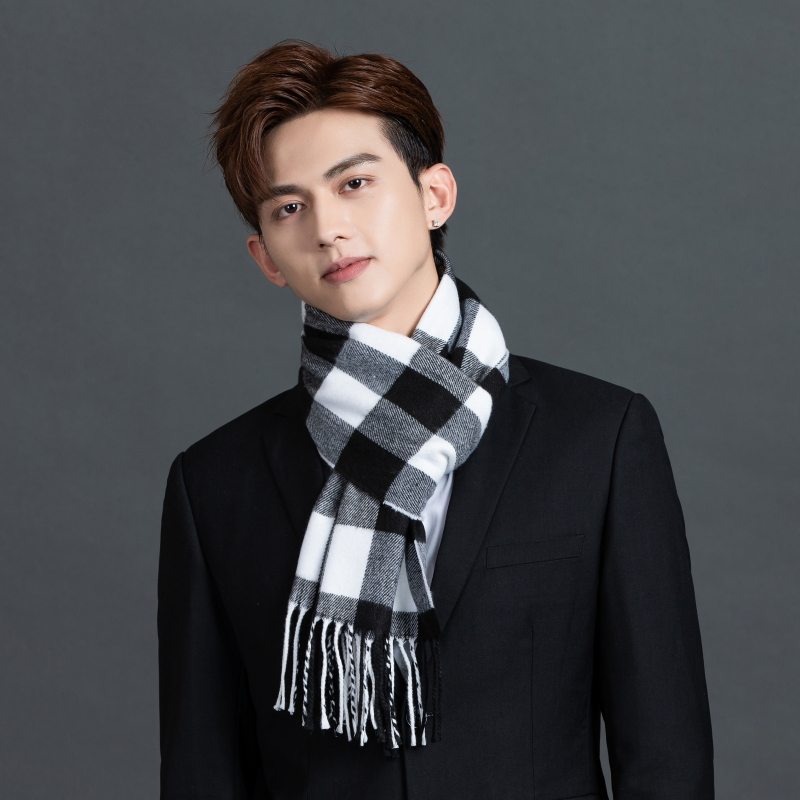 New mens scarves black and white plaid winter British fashion girl young students custom logo