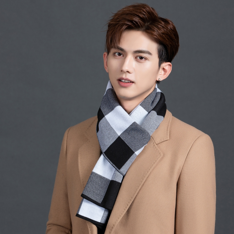 Scarf mens autumn and winter thickened scarf Korean version versatile husband birthday gift boys Plaid Bib gift box