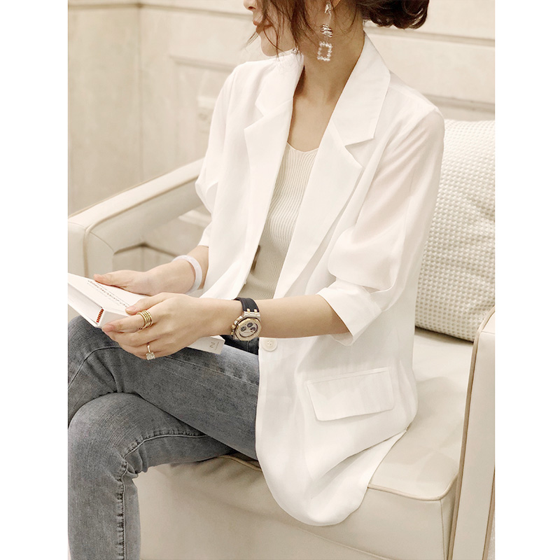 Temperament vertical sense Chiffon white short sleeve suit women's thin coat suit loose casual versatile Korean summer European goods