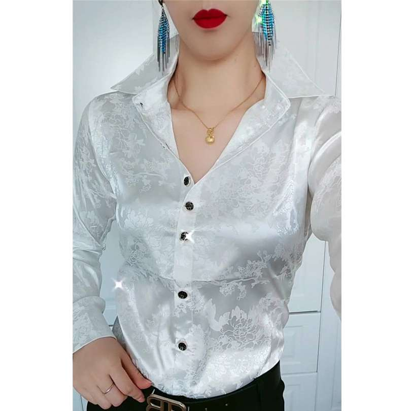 New jacquard satin shirt for women in spring and summer 2020
