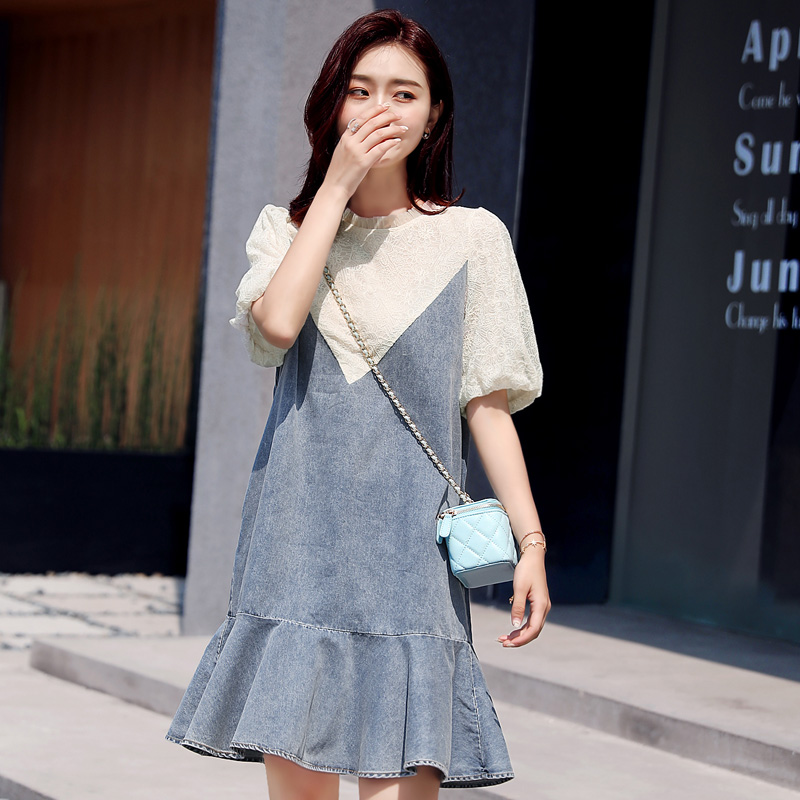 2020 summer new lace stitching denim dress womens Korean medium length loose Ruffle fishtail skirt