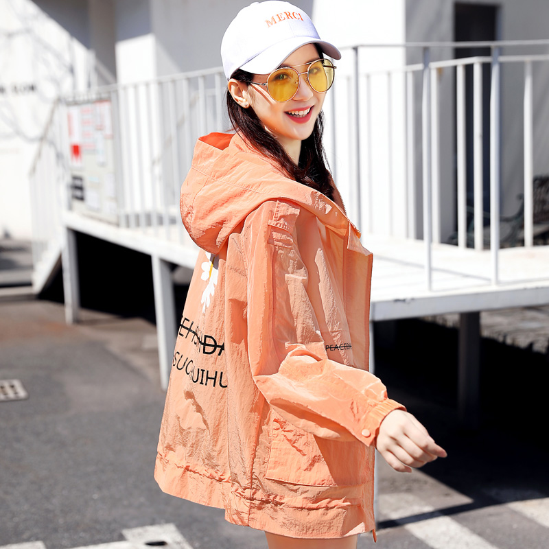 Summer 2020 new mid long sunscreen clothing womens Korean version loose hooded lettered sun proof clothing thin coat fashion