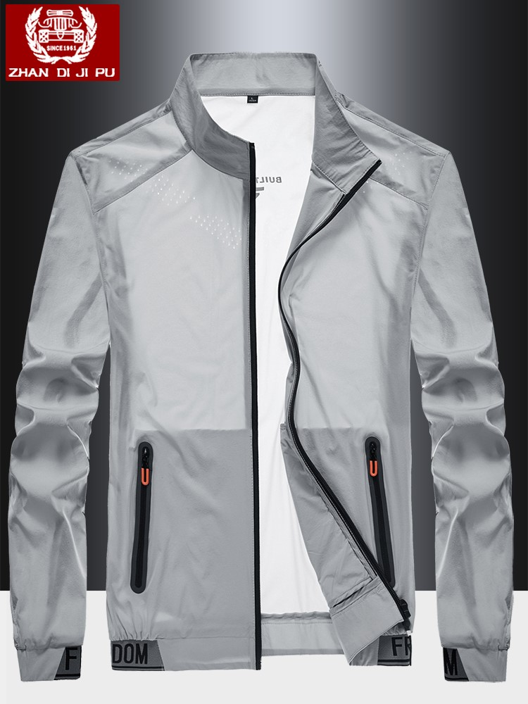 Mens sun proof clothing ultra thin and breathable summer hoodless jacket jacket sports trend skin windbreaker sun proof clothing ice silk
