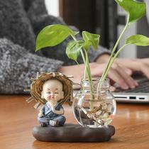 绿萝水培花盆器皿花瓶透明玻璃插花创意水养植物花器客厅装饰摆件