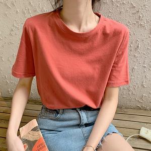 领10元券购买网红t恤女ins超火纯棉短袖2020夏新款白色小雏菊打底香芋紫色上衣