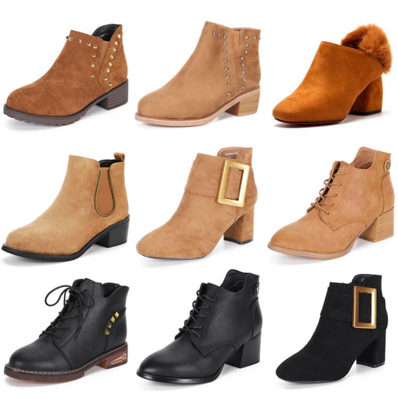 依思Q秋冬新款单靴时髦细跟矮靴中筒短靴女轻熟风法式高跟鞋细跟