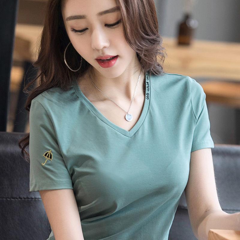 95棉 V领短袖T恤女韩版2020夏装百搭宽松绣花棉质半袖上衣T恤小衫