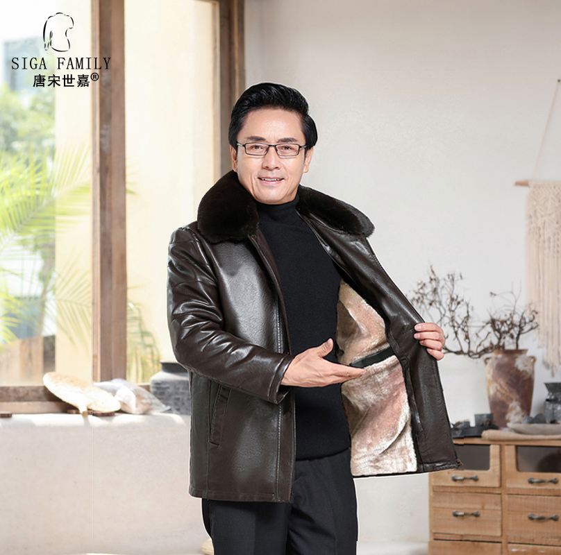 Middle aged mens winter fur coat, fathers leather jacket, middle-aged and elderly mens coat with plush thickening autumn and winter coat