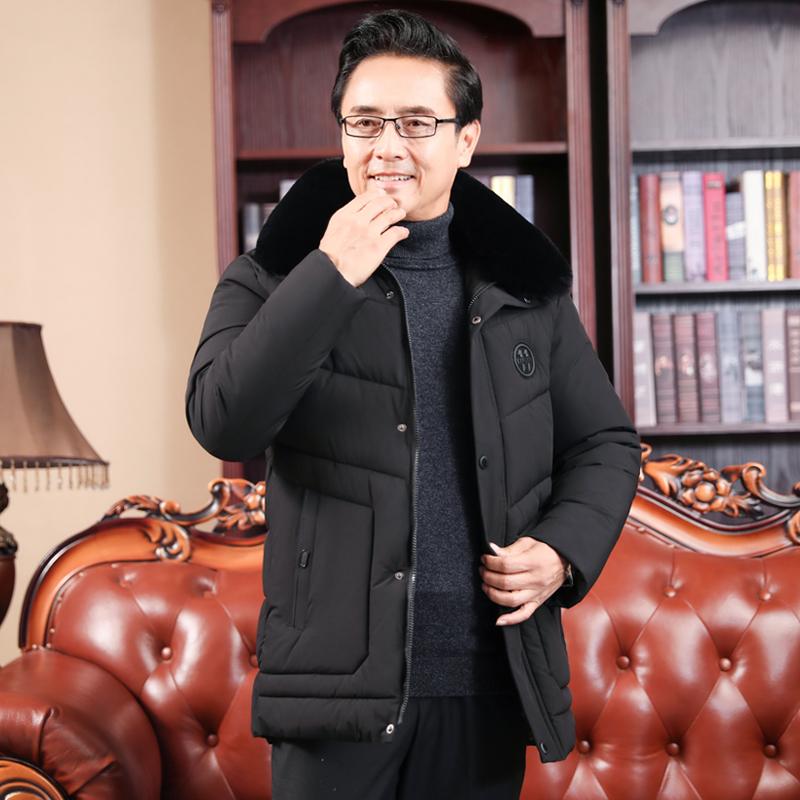 中年男士保暖棉衣加绒加厚羽绒棉服中老年爸爸男装爷爷冬外套棉袄