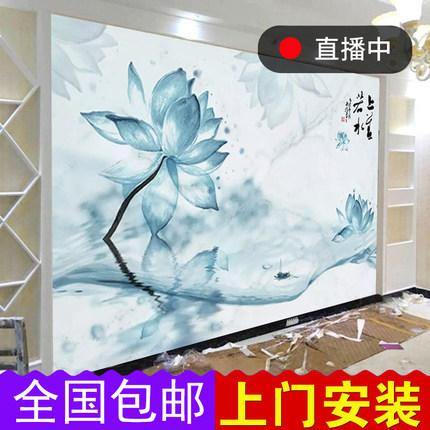 现代中式荷花电视背景墙壁纸客厅卧室禅意中国风简约壁画影视墙纸