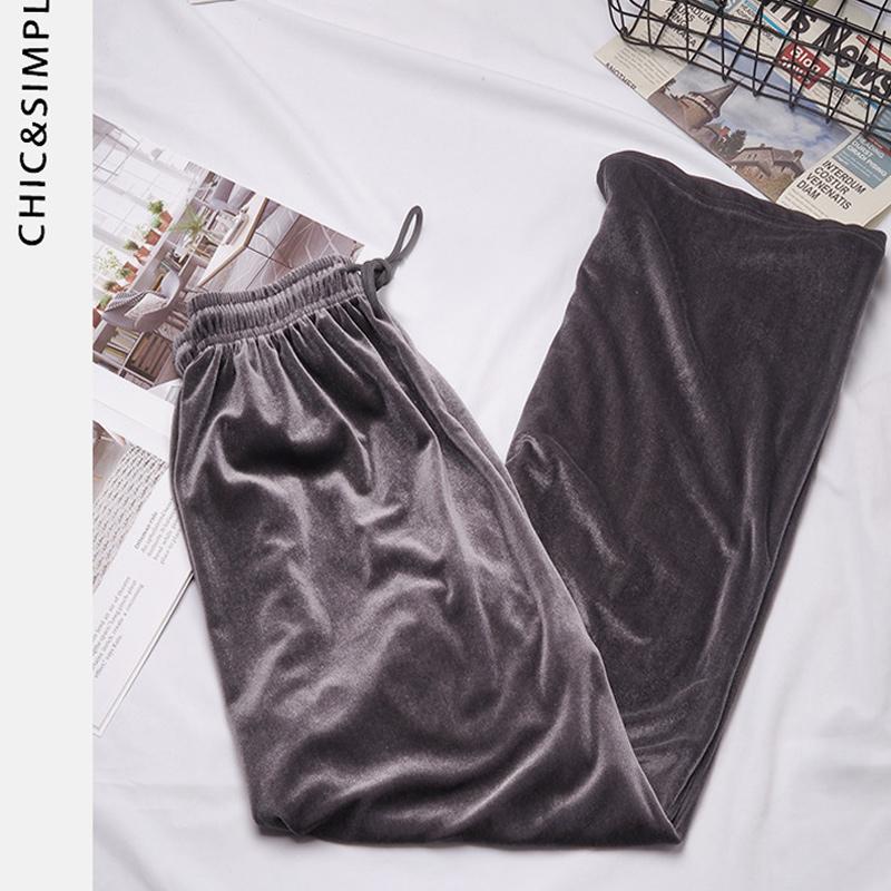 【新款】垂坠感金丝绒阔腿裤