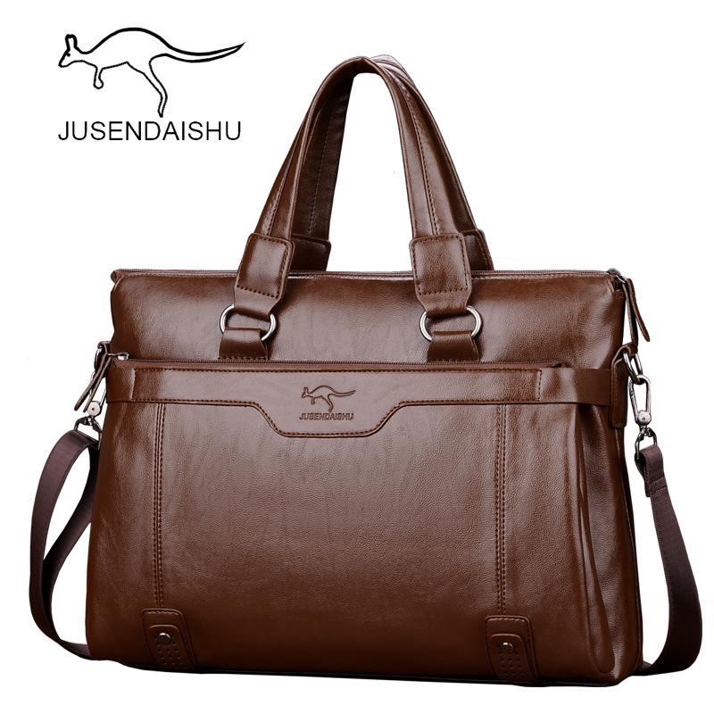 Johnson kangaroo mens handbag leather horizontal mens bag business cowhide One Shoulder Messenger Bag leisure briefcase