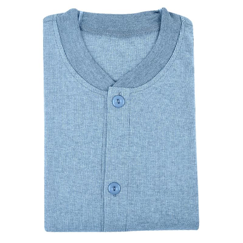 男士纯棉中老年人开衫秋衣对襟开身系扣棉毛衫打底衫内衣单件上衣