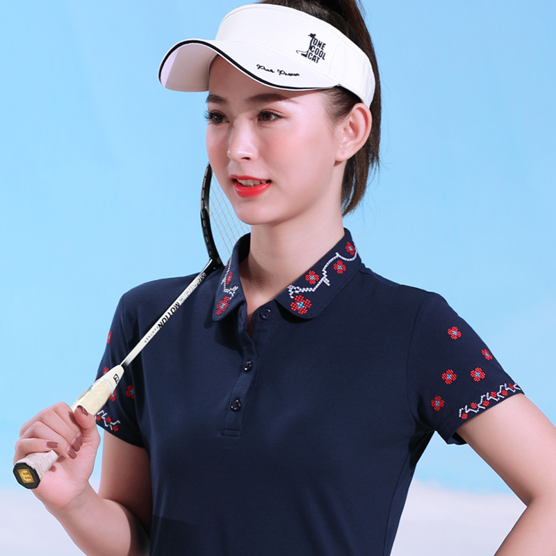 Novel mouse Lapel short sleeve summer casual T-shirt womens fashion clothes cotton half sleeve collar slim polo shirt