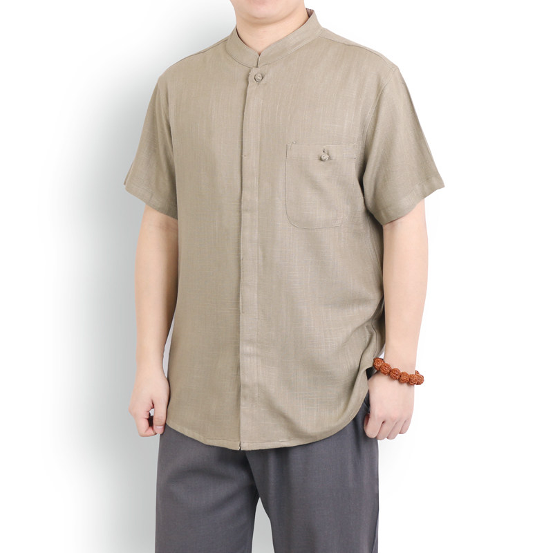 Collection of Chinese style summer thin mens linen short sleeve shirt loose large Chinese cotton hemp half sleeve T-shirt for men