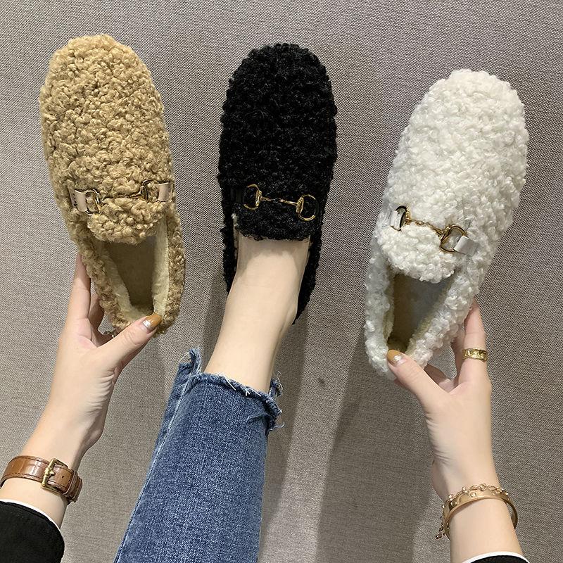 加绒保暖新款毛毛鞋冬季社会平底套脚棉鞋子女学生韩版豆豆鞋女鞋,免费领取100.00元淘宝优惠卷