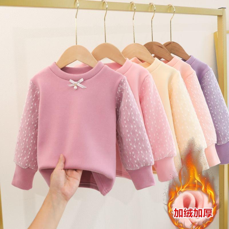 女童打底衫秋冬儿童长袖加绒加厚T恤女泡泡纱袖洋气上衣百搭毛衣