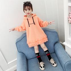 卫衣女童潮ins大童秋冬洋气韩版中长款连衣裙女孩时髦加绒卫衣裙