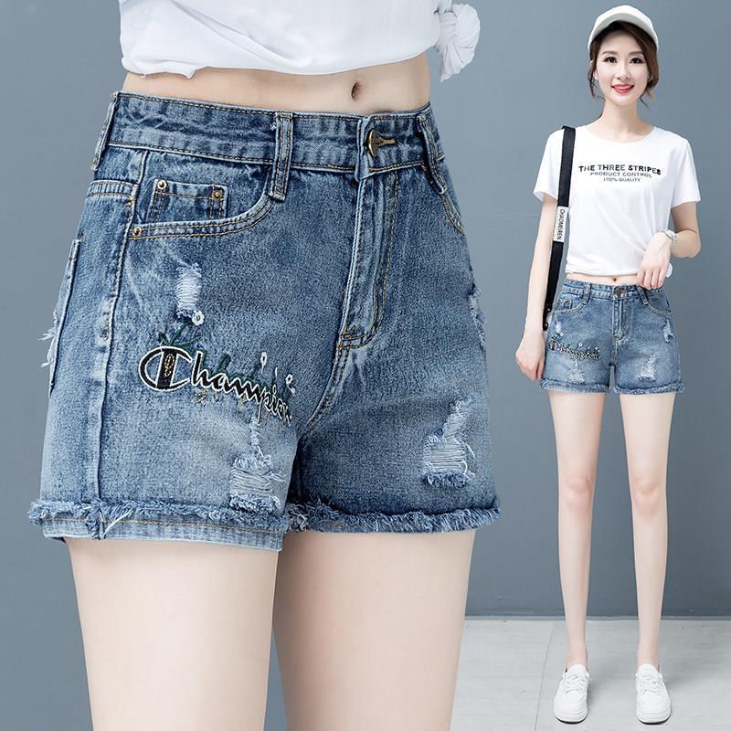 破洞短裤女2021年夏季新款时尚刺绣裤子女春秋高腰显瘦牛仔短裤女
