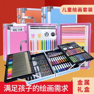 98件套可水洗水彩笔套装幼儿园彩色笔儿童画笔套装美术学生用品24色水彩笔36蜡笔小学生绘画套装画画笔