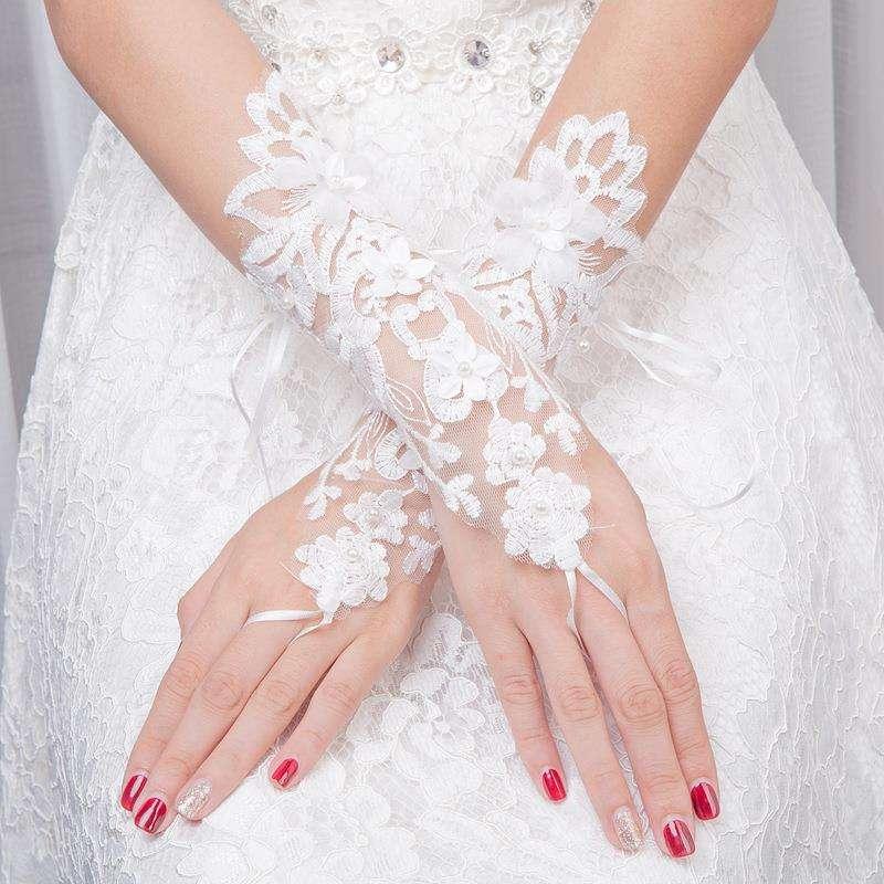 2018新娘白色结婚手套新娘婚纱婚礼手套春夏季中长款手套配饰