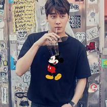 2020新款米老鼠联名短袖t恤男夏创意卡通动漫米奇宽松潮流情侣装