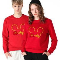 hs2020鼠年本命年大红色加绒纯棉卫衣宽松大码圆领男女情侣装上衣