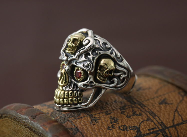S925 pure fashion jewelry personality retro Thai Skull Ring rock style index finger ring silver punk man