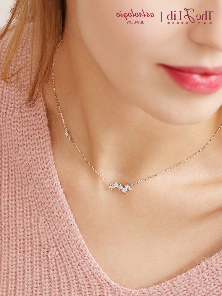 Stars shining in Europe and America, stars inlaid with diamonds, collarbone chains, womens 925 Sterling Silver gold-plated Star Necklace