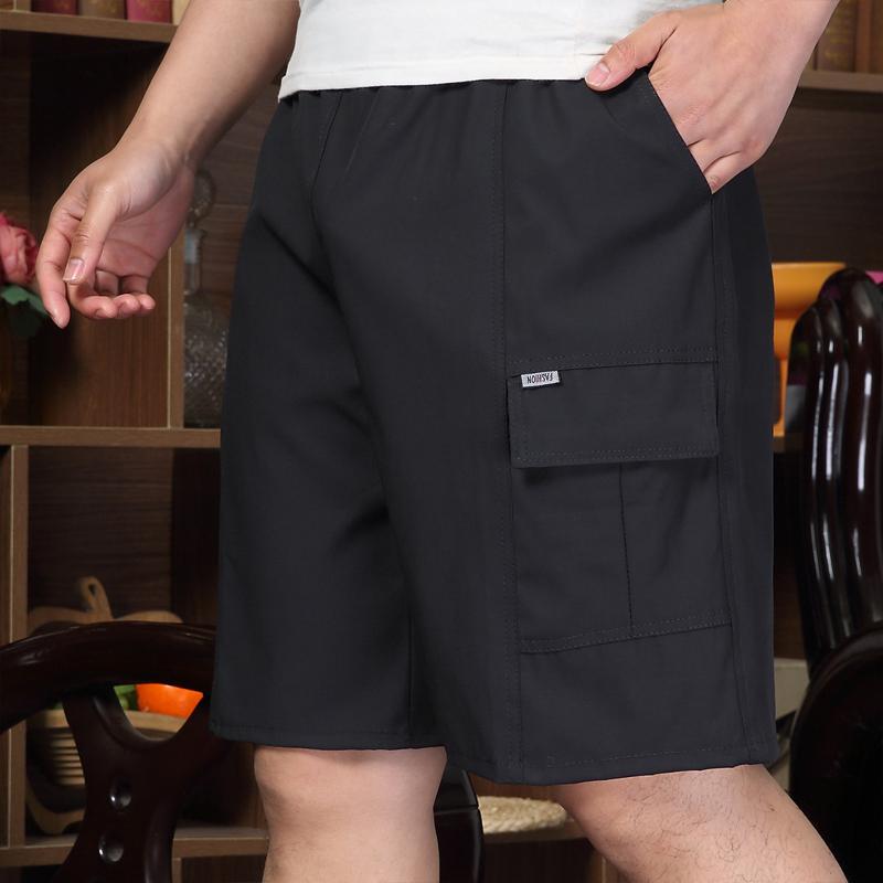 夏季中年男士爸爸装短裤七分裤含棉宽松中老年人休闲五分裤外穿衩