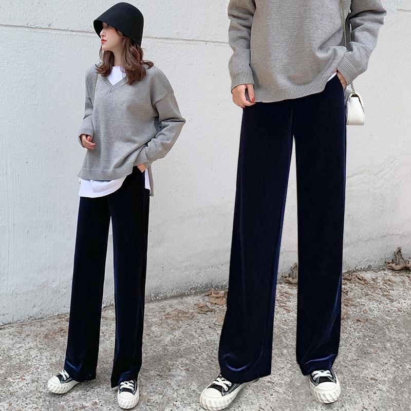 金丝绒阔腿裤女秋冬高腰直筒垂坠感加厚拖地裤垂感小个子加绒长裤