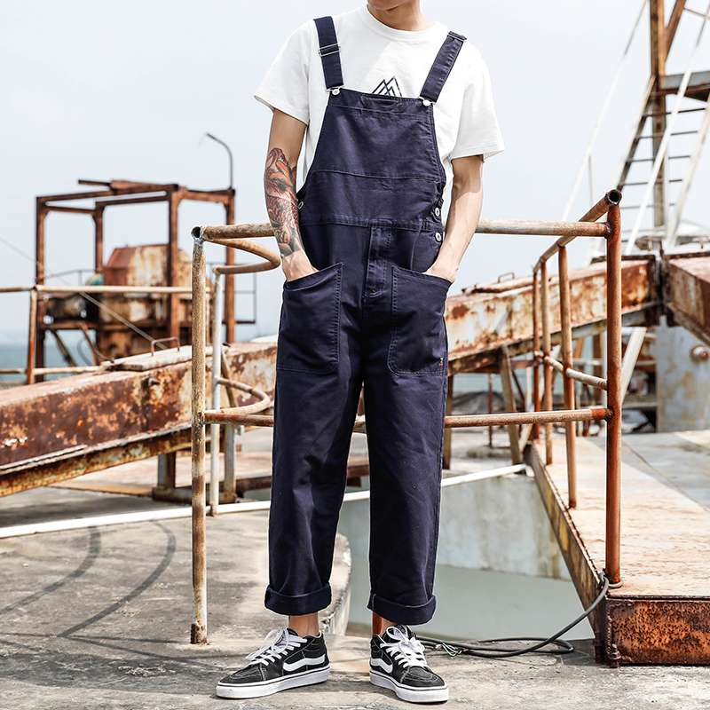 American style retro one-piece casual pants mens large pocket work clothes suspenders mens and womens Korean version of one-piece pants
