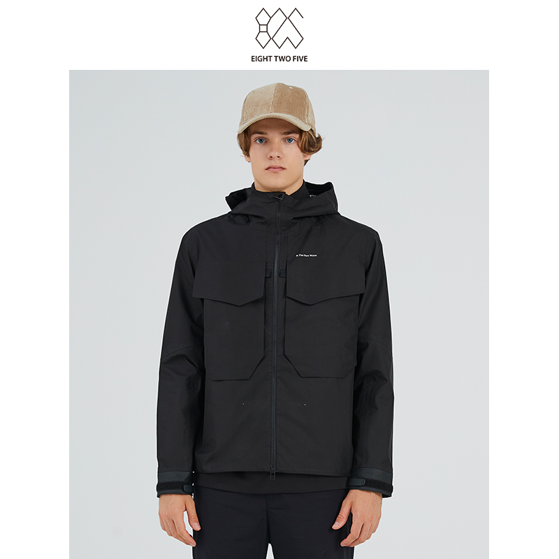 825 mens offline counter new fashion trend autumn windproof hooded design black tooling mens jacket