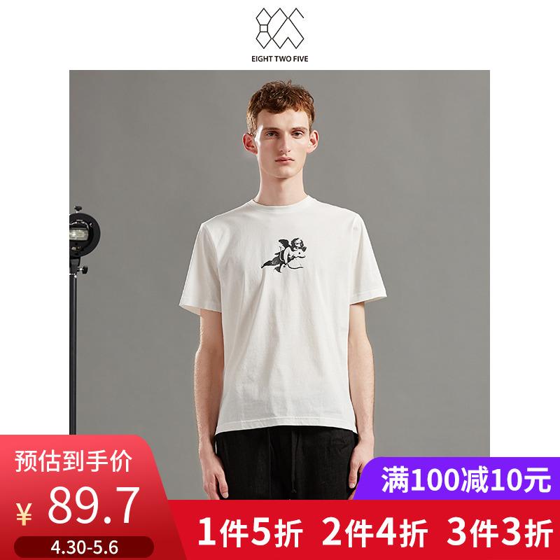 825男装时尚活力爱神图案男式白色纯棉短袖T恤